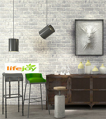 White Grey Brick Look Wallpaper  Industrial / Restaurant / Shop / Bar Club /Home