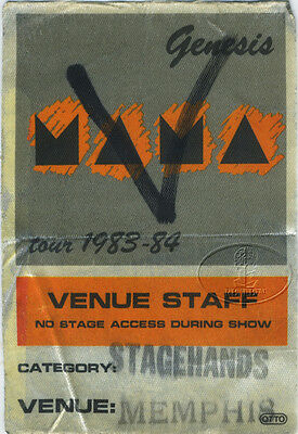 GENESIS 1983-84 Mama Backstage Pass Phil Collins Memphis