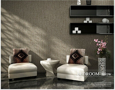 Mocha Grey Plain 3D Textured Feature Wall Paper Wallpaper Roll 10M