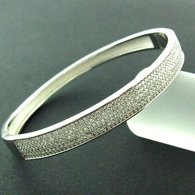87 Genuine Real 925 Diamond Simulated Sterling Silver Ladies Bangle Bracelet