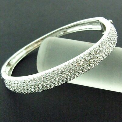 91 Genuine Real 925 Diamond Simulated Sterling Silver Ladies Bangle Bracelet