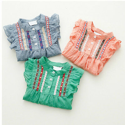 Baby Kids Girls Autumn Spring Long Sleeve Ruffle T-shirts Loose Tops Blouse 1-6Y