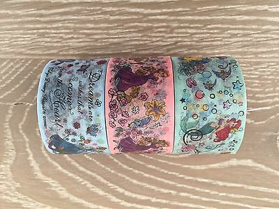 Disney Princess Washi Tape 3 Rolls Tokyo Disney Land Masing Tapes Lot