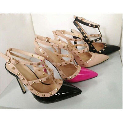 Sale Lady pointed toe strappy pumps studded ankle high heel shoes rivet stiletto