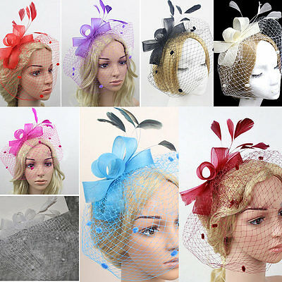 Women Mesh Birdcage Veil Feather Fascinator Hair Face Hat Clip Wedding Party Hot