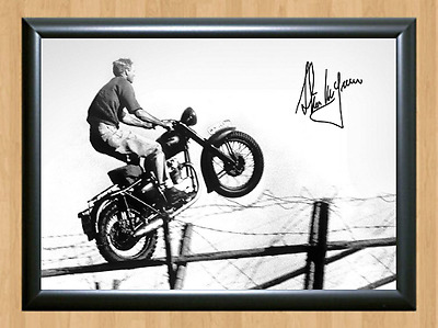 Steve McQueen Signed Autographed A4 Photo Print Poster Great Escape Bullit dvd 3