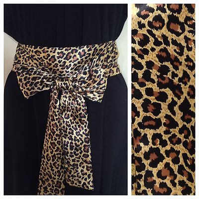 New Silky Satin Sash Fabric Belt Self Tie Bow Leopard Animal Print Update Dress