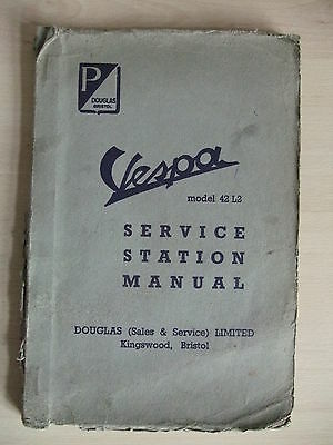 Vespa Scooter Service Station Manual Model 42 L2 92 L2 Douglas