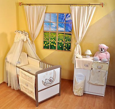NEW WHITE-BROWN 2in1 COT-BED 120x60 WITH  3-PIECE BEDDING no 8 - RRP 169 GBP