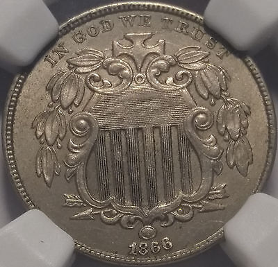 1866 Shield Nickel wRays NGC MS62 - type coin minted for slightly over a yr