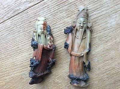 Antique Chinese carved soapstone figures