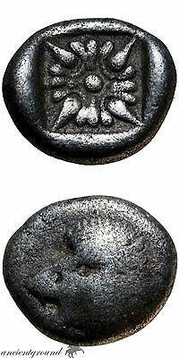 ANCIENT GREEK SILVER OBOL COIN IONIA MILETOS  5th CENTURY BC