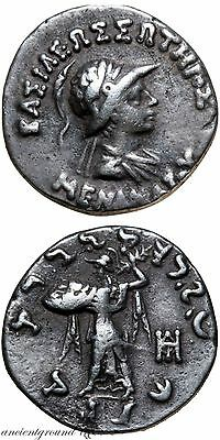 Menander Helmted King Of Baktria Silver Drachm Coin 155-130 Bc