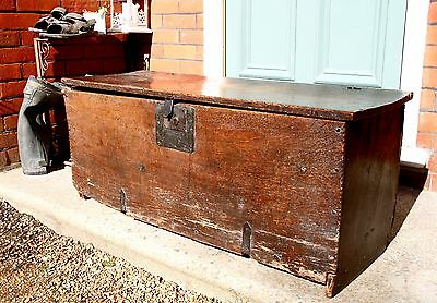 Mid 17th Century 6 Plank Oak Coffer  Chest