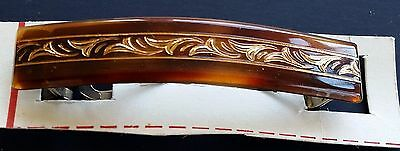 Vintage Barrette - Tortoise Shell Color Barrette with Copper Color Design