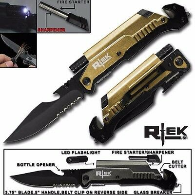 """8.75"""" TACTICAL MULTI-FUNCTIONAL Spring Assisted P/Knife Outdoor Rescue -GOLD"""