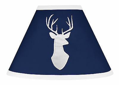 Navy Blue And White Deer Lamp Shade For Sweet Jojo Boys Woodsy Baby Bedding Sets