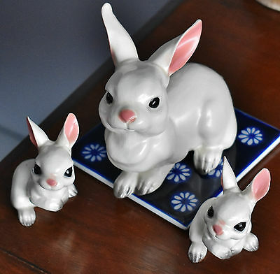 Antique Bunny Rabbit Figurine Mama & Babies White w/Pink Ears Perfect for Easter