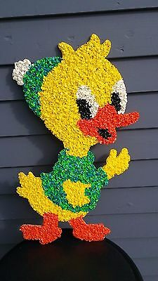 Vintage wall decor melted popcorn plastic figure art 1960's 1970's duck Easter