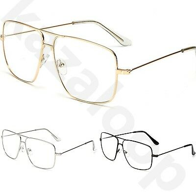 Unisex Large Clear Lens Metal Frame Vintage Retro 80s 70s Fashion Glasses