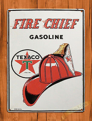 "TIN-UPS TIN SIGN ""Fire Chief"" Oil Garage Vintage Wall Decor"