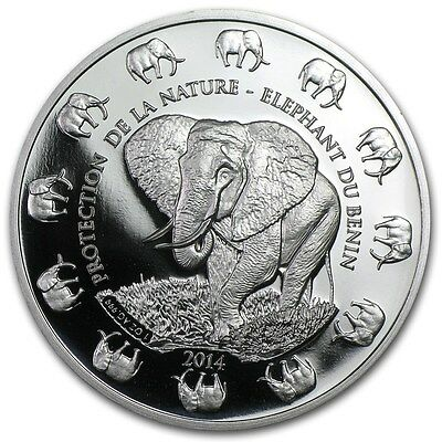 2014 Benin Elephant 1 Ounce .999 Silver Coin from Sealed Roll