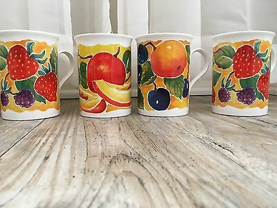 CROWN TRENT Fine Bone China Harvest Mugs Cups Staffordshire England Set of 4