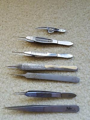 Lot of 7 Ophthalmic Jeweler Forceps/Suturing/Tweezers Surgical Instruments