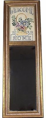 Framed Cross Stitch Sampler With Mirror Welcome to Our Home Flowers Gold Frame