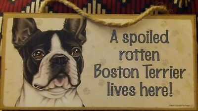 Boston terrier sign wood wall hanging
