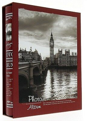 "Slip In Photo Album In Box Holds 200 6"" x 4"" Photos Memo Great Gift London UK"