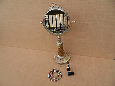 Vanity Victorian Style ITALIAN VINTAGE ONYX and Brass Makeup Dressing Mirror