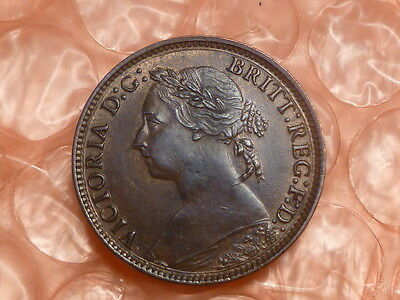 "1881 H Great Britain Farthing Uncirculated ""H"" In Contact With '8' Reverse""1""*#A"