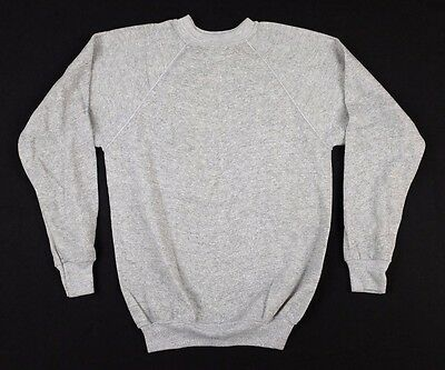 Vtg 1970s Fruit of the Loom Gray Raglan Sweatshirt Youth XL tri blend deadstock