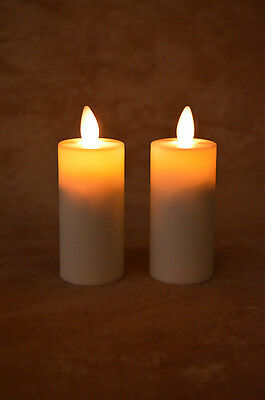 "Liown LightLi Moving Flameless Votive Candles, 2 in pkg, Ivory 1.5""x4"", NEW"