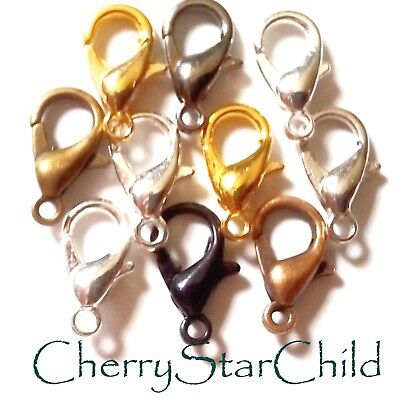 10 x mixed finish 12mm lobster clasps silver gold bronze copper findings