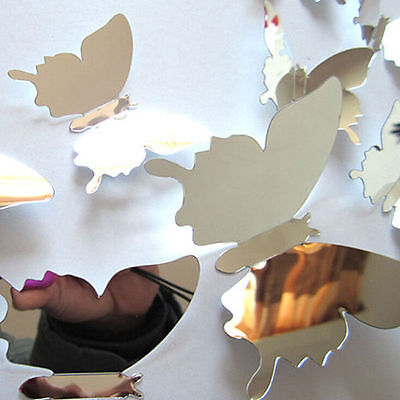 Popular Mirror 3D Butterfly Wall Stickers for home wall decoration 12pcs