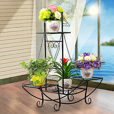 Outdoor Indoor Pot Plant Stand Garden Metal 4 Tier Planter Shelves Extra Large
