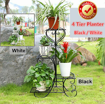 Outdoor Indoor Pot Plant Stand Garden Quality Metal 1, 2 or 3 or 4 Tier Shelves