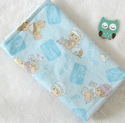 Handcrafted Flannel Precious Moment Print & White Minky Bubble Baby Burp Cloth