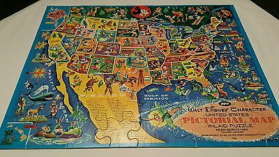Large Tray Puzzle Jaymar Walt Disney Character United States Pictorial Map
