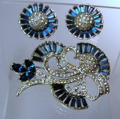 BOUCHER Snowball Sapphire Baguette Rhinestone Pin & Earrings w Phrygian Cap Mark