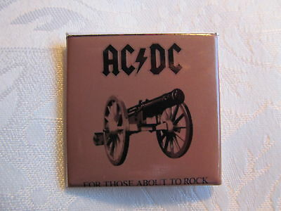 Vintage 1980's AC/DC Rock Music Heavy Metal Pin Button For Those About To Rock A