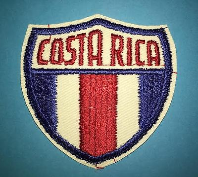 Rare Vintage 1960's Costa Rica Shield Flag Jacket Biker Vest Travel Crest Patch