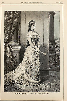 Antique Victorian Fashion Print, Costume Style Clothes, Queen Hungary Austria
