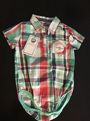 PUMPKIN PATCH baby boys check body suit. Size 0 (6-12 months). BNWT