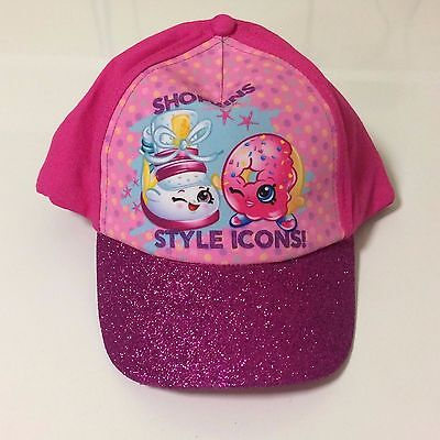 SHOPKINS Baseball Cap Youth One Size Style Icons! Pink Sparkle Glitter Brim NWT