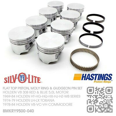 """308+.040"""" Flat Top Pistons & Moly Rings 5.0L V8 [Holden Vb-Vc-Vh Commodore]"""
