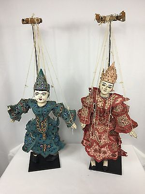 Pair of Antique Ornate Asian Hand Crafted Burmese Diety Marionette Puppet Dolls