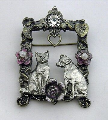 Vintage Cat Dog in Window Frame Enamel Rhinestone Heart Animal Pin Brooch